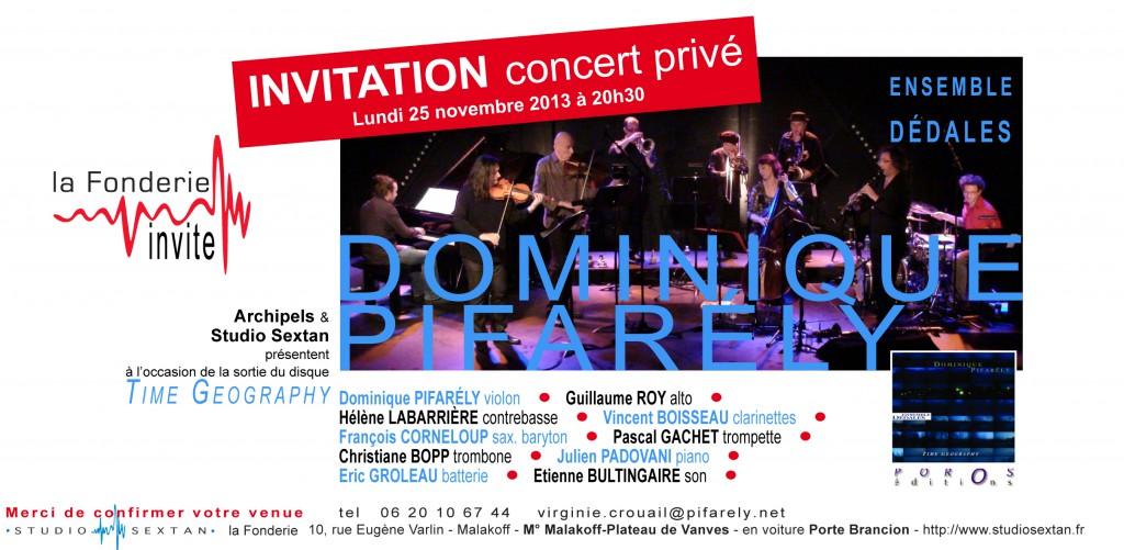 Invitation Pifarély/Dédales, La Fonderie 25/11/2013
